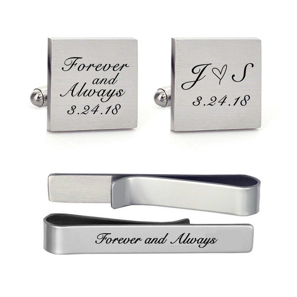 MUEEU Wedding Cufflink Engraved Forever & Always Custom Date Round Square Groom Tie Clip Tack (Groom Square Cufflinks and 1 Tie Clip)