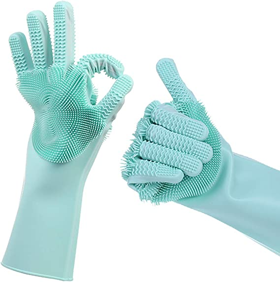 UK Magic Silicone Rubber Dish Washing Gloves 2 in 1 Scrubber Cleaning Scrubbing