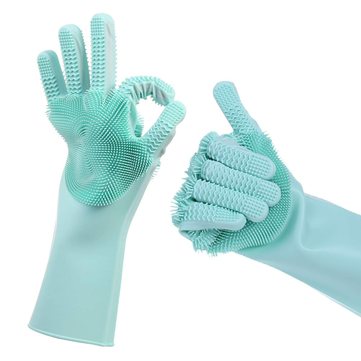 Superiorbuy 1 Pair Silicone Dishwashing Gloves Anti-Slip Cleaning Gloves with Both Sides Scrubber Oven Safe Kitchen Gloves for Protecting Your Hands (Teal Green)