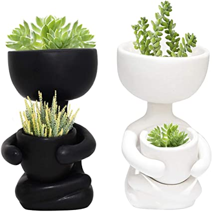 Ceramic Humanoid Flower Pots Succulent Plant Vase Tabletop Decorative Planters