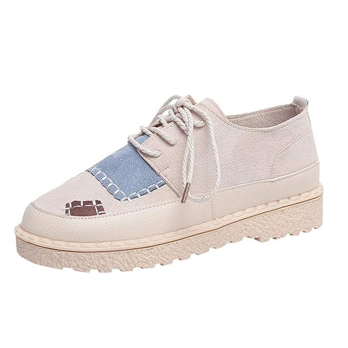 Yvelands Mujeres Liquidación Moda para Mujer Punta Redonda Plana Patchwork Mocasines Casual Zapatillas de Deporte Zapatos