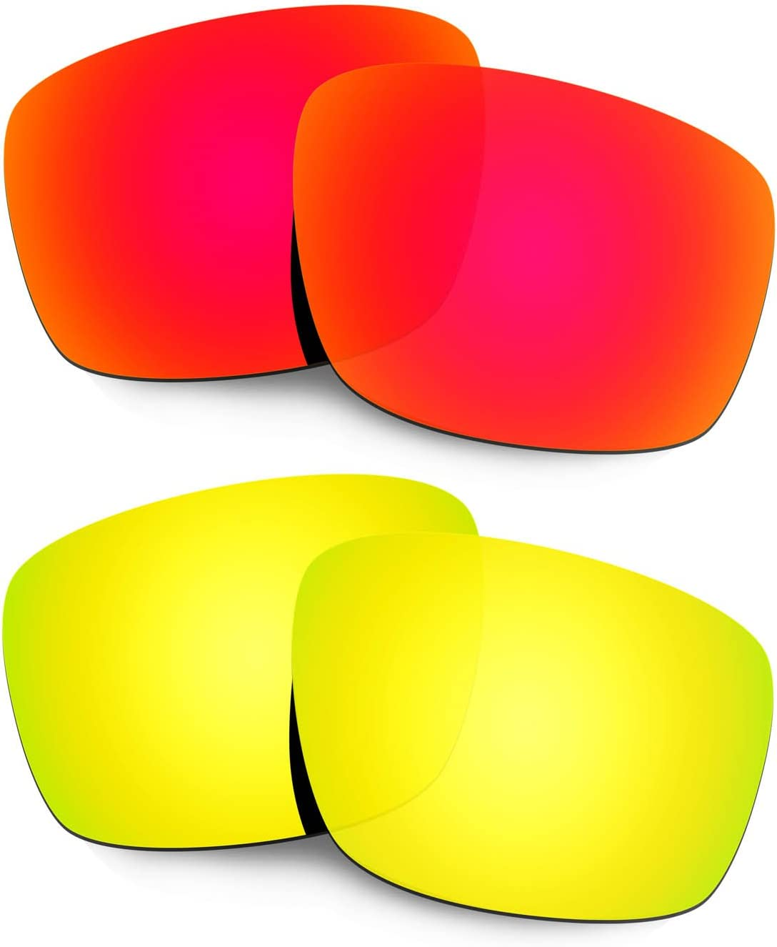 HKUCO Mens Replacement Lenses for Oakley Mainlink Sunglasses Red/24k Gold