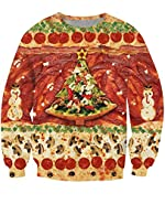 Uideazone Unisex 3D Digital Printed Ugly Christmas Pullover Sweatshirts Graphic Long Sleeve Shirts