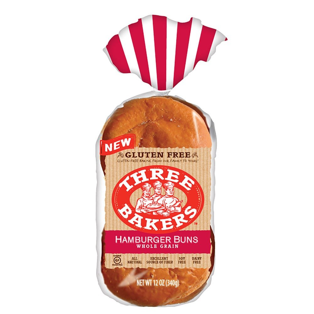 Three Bakers Gluten Free Whole Grain Hamburger Buns (Pack of 2) - brown