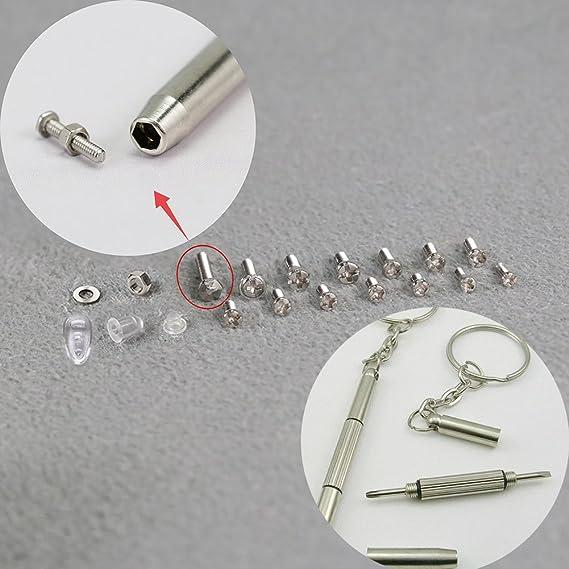 b4ae6561fe5ae2 Tootaci Kit de réparation de lunettes - 1000 pièces - Assortiment de petites  vis, boulons écrous, rondelles et nez de lunettes, Ensemble de tournevis et  ...