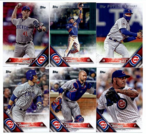 (2016 Topps Series 2 Baseball Chicago Cubs Team Set of 11 Cards: Jason Heyward(#371), David Ross(#441), Ben Zobrist(#447), Young Cubs Buds(#453), John Lackey(#470), Chicago Cubs(#474), Hector Rondon(#481), Travis Wood(#507), Addison Russell(#562), Carl Edwards Jr.(#640), Javier Baez(#668) in Protective Snap Case)