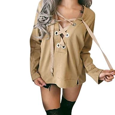 Milktea Kapuzenpullover Sweatshirt Damen Pullover Hoodie Casual Tops  Rundhals Sweatshirts Pullover Langarmshirts (S, Khaki 279805c37f