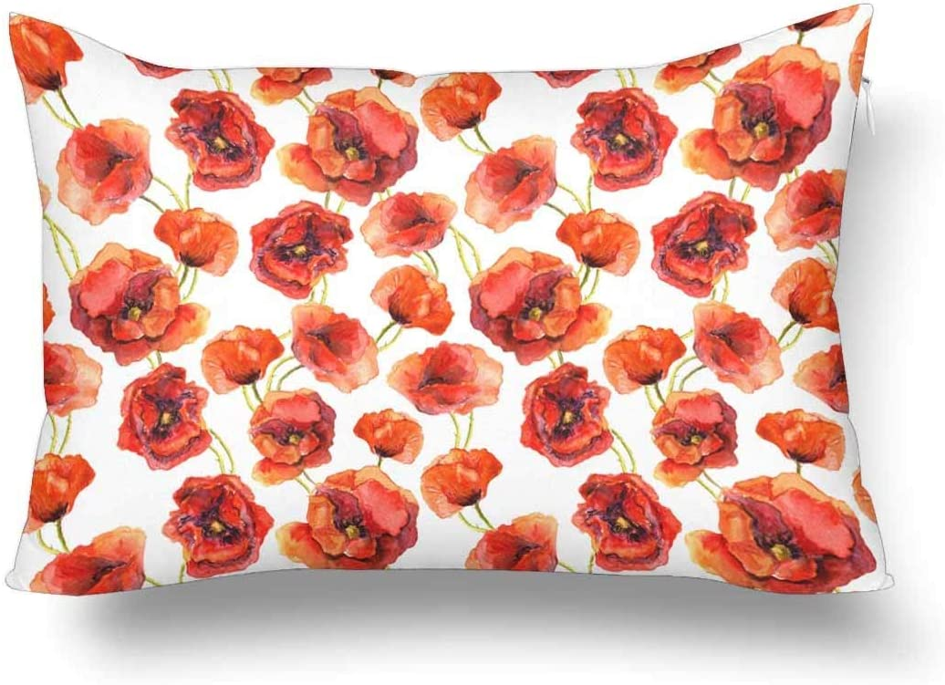 Adshdjfbdjh2 Floral Red Flowers Poppy Watercolor Painted Drawing Pillow Cases Pillowcase Rectangle Pillow Covers Protector For Home Couch Sofa Bedroom Decoration 16x24 16x24 Inch Home Kitchen