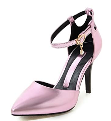 SHOWHOW Damen Offene Zehe Transparent Stiletto Sandale mit Knöchelriemchen Rosa 39 EU TnKveqJRTa