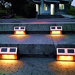 Solar Lights Outdoor Pathway Decorative Garden Waterproof Deck Light Upgraded Dual Warm White LED Brgiht Decorations Step Lamp Sogrand Copper Fence Lamp for Patio Outside Landscape Walkway Stair 4Pack