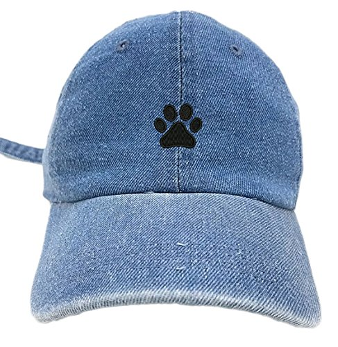 TheMonsta Dog Paw Style Dad Hat Washed Cotton Polo Baseball Cap (Lt.Denim)