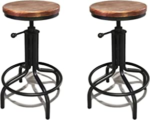 Topower American Antique Industrial Design Black Metal Adjustable Height Kitchen Dining Breakfast Chair Natural Pinewood Industrial Style Bar Stool Set of 2