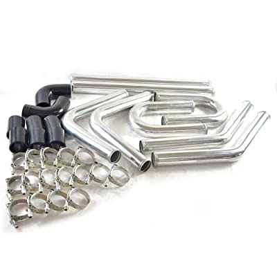 "SUNROAD 2"" 8Pcs Universal Intercooler Pipe Piping Turbo Polished Aluminum Kit with Silicone Hoses and Stainless Steel T-Clamps: Automotive"