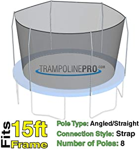 15 ft Trampoline Replacement Net with Straps for 8 Poles | Poles Not Included