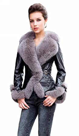 8116f5b4b6 Queenshiny Long Women's 100% Real Sheep Leather Coat Jacket with Super  Silver Fox Collar-