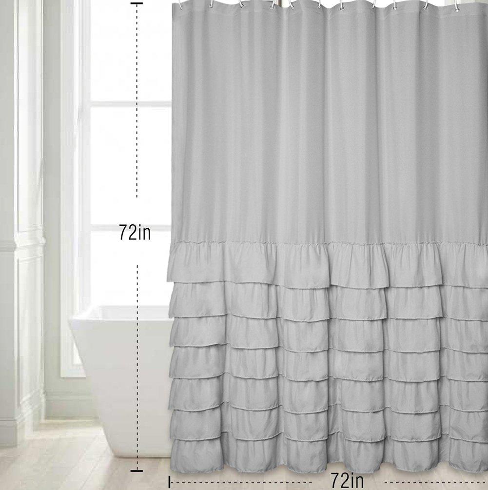 Bathroom White Ruffle Shower Curtain Coral Curtains Hot