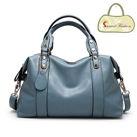 aa63f0e3b2 Amazon.com   Sunwel Fashion Women s Faux Leather Medium Boston Bags  Shoulder Strap Crossbody Handbag Tote Laptop Satchel Purse Red Black Blue    Garden   ...