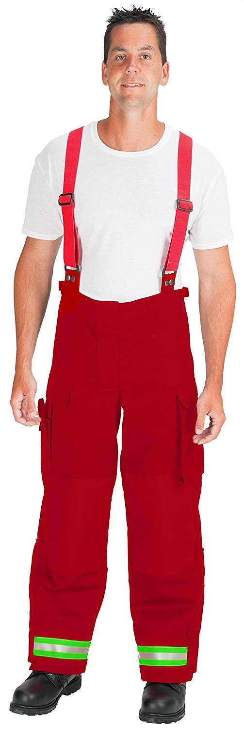 TOPPS SAFETY EP01Y5645-42 -30 NOMEX EMS Pants Red with 2 Lime//Yellow-Silver-Lime//Yellow Triple Trim 30 Inseam 42 Waist Size