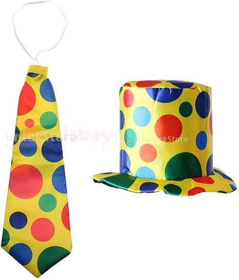 2Pcs Clown Jokers Jumbo Polka Dots Hat Necktie Fancy Dress Carnival Costume