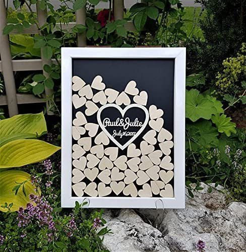 Black Hearts Drop Box Sign Guestbook For Wedding Frame Wood Wedding Guestbook Alternative Wedding Gifts For The Bride 12 X 14 Inch With 120 Hearts Amazon Ca Home Kitchen