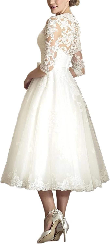 ABaowedding Womens V Neck Long Sleeves Tea Length Short Wedding Dress ZMJ0059