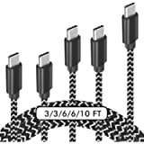 USB C Cable, 【5-Pack】 3A Fast Charge Various Lengths Durable Nylon Braided USB A to USB C Charging Cable Compatible with…
