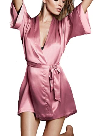 65ab353108456 Image Unavailable. Image not available for. Color: Victoria's Secret Satin  Kimono Robe Rose/Pink Size XS/S