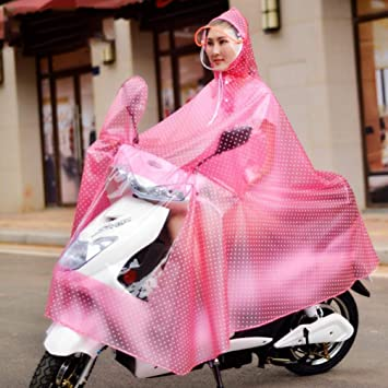 High Quality Transparent Double Hat-Brim Extra Large Windproof Rainproof Motorcycle Scooter Rain Hoodie Coat Women Men Big Raincoat Cover Cape Poncho Rainwear Full Protection with Reflector Strips