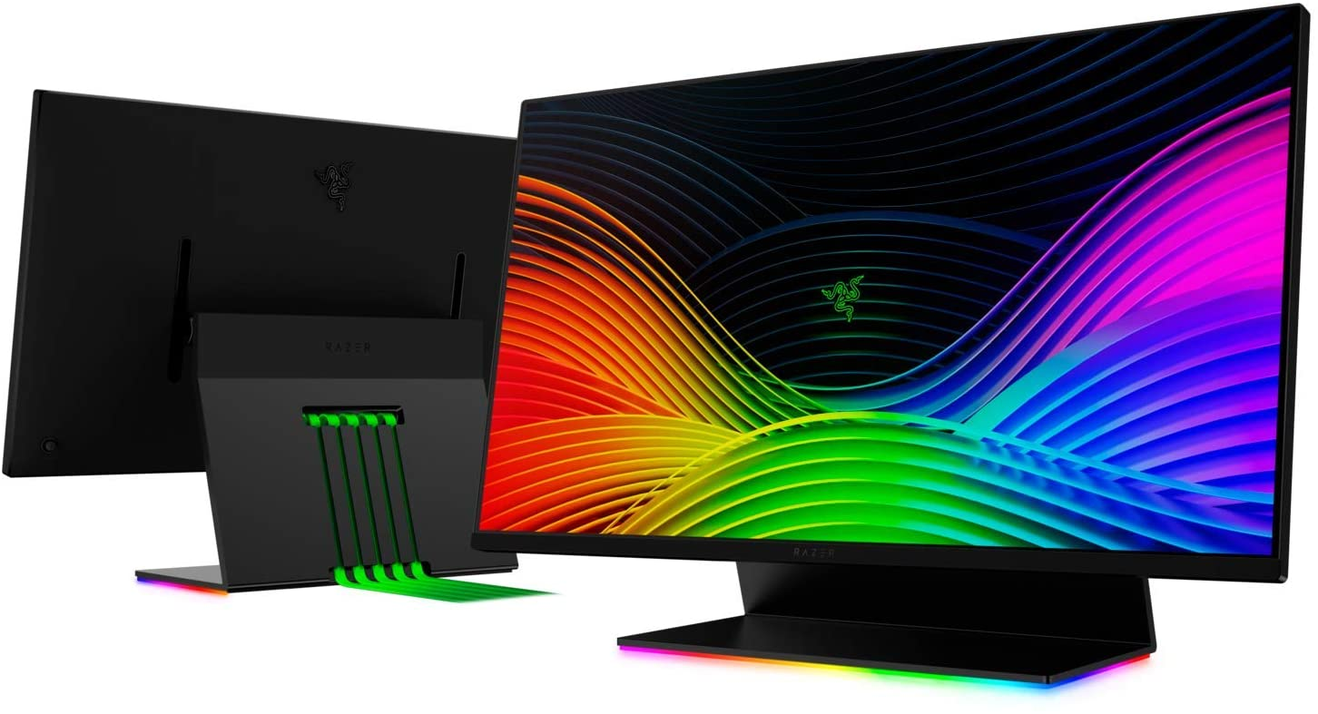 "Razer Raptor 27"" Gaming Monitor: WQHD (2560x1440) - IPS-Grade - 144Hz - 1ms Response - HDR 400 - NVIDIA G-Sync Compatible & AMD FreeSync - Solid Aluminum Base - Razer Chroma RGB - 5 Flat Cables in Box"