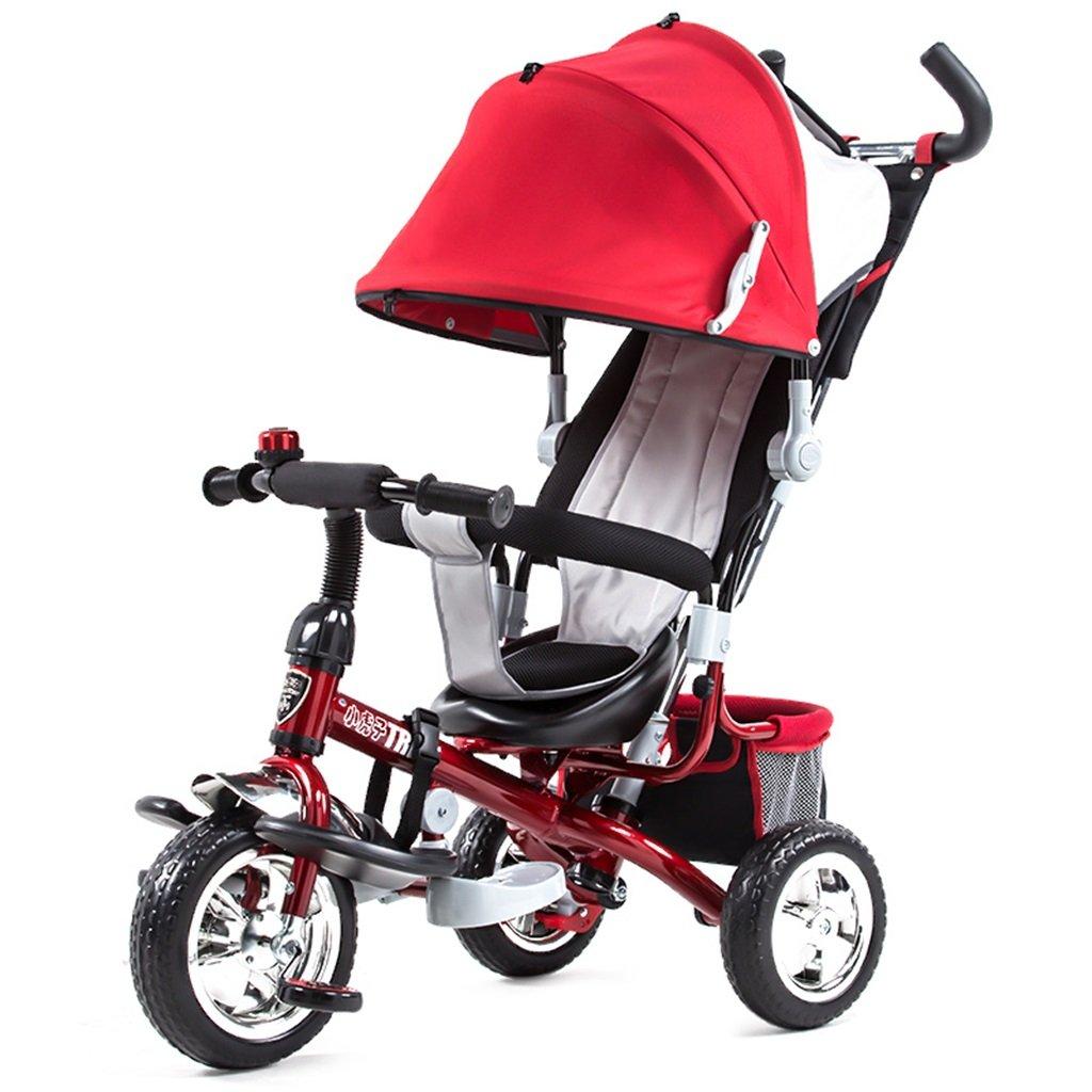 BZEI-BIKE Niños Triciclo Carritos Carritos de bebé Niño Bicicletas 3 Ruedas, Rojo niños Juguetes