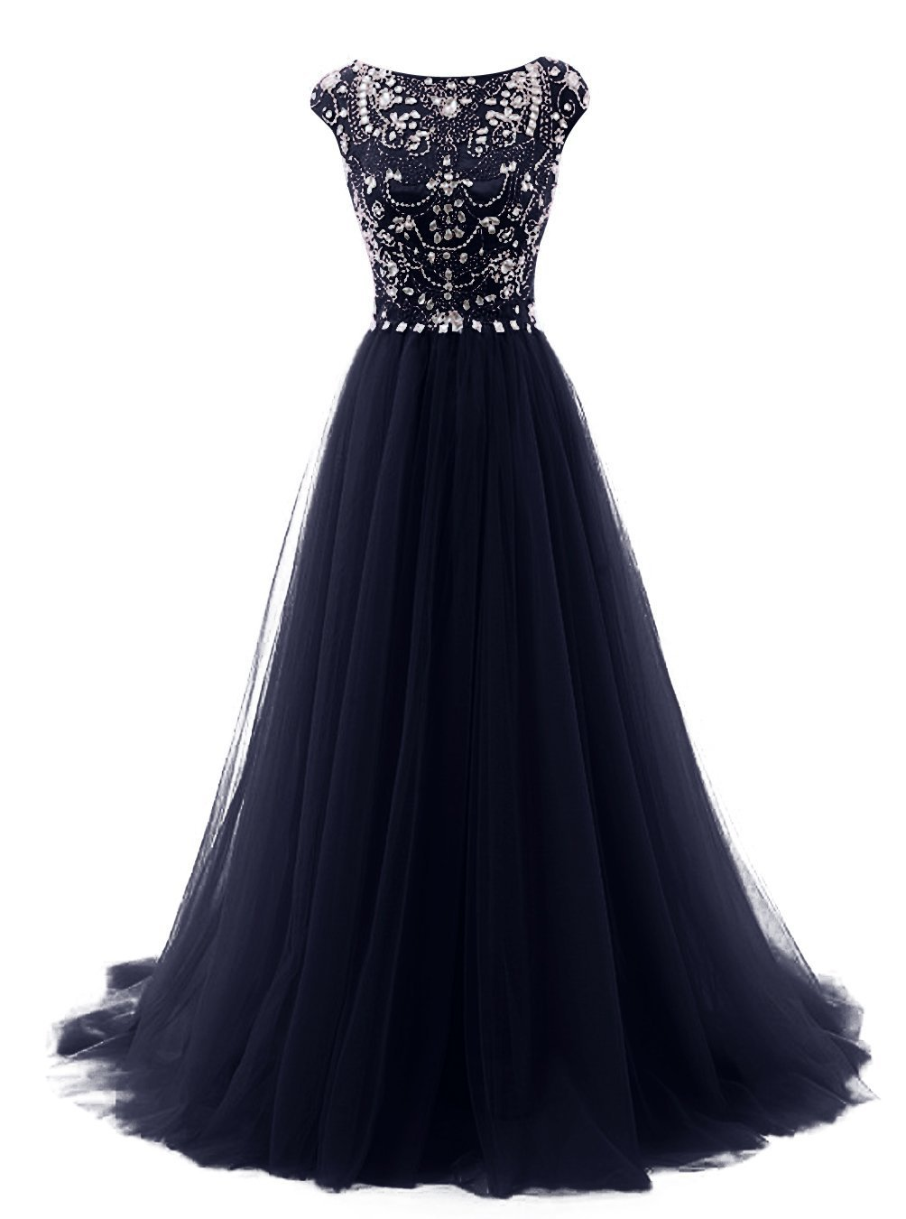 FASHION DRESS Women's Beads Long Prom Dress Tulle Cap Sleeves Evening Dress US8 Navy Blue