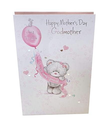 3030be7669 Feliz día de la madre deseo madrina tarjeta calidad con purpurina oso  versos de felicitación