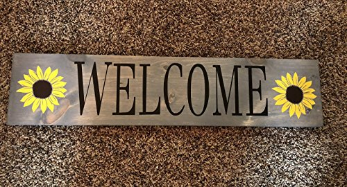 Welcome Custom Wood Sign Wall Plaque Sunflower Spring