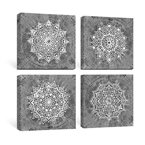 SUMGAR Cuadros en Lienzo Mandalas Decoracion Salon Dormitorios Bano con Mural Impresiones Grises de Modernos Boho Flores Imagenes Floral Obra de Arte Decoraciones Indias 30x30cm,Set de 4