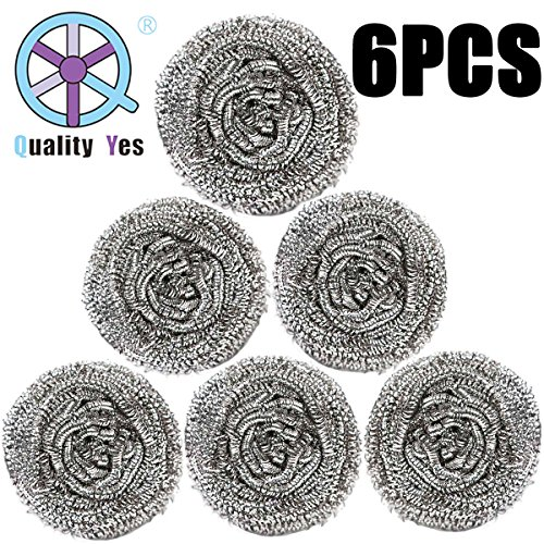 QY 6PCS Stainless Steel High Density Cleaning Sponges Metal Scrubber Scouring Pad Ball for Home Kitchen Pot Pan Dish Wash Cleaning Stainless Steel Scouring Sponge