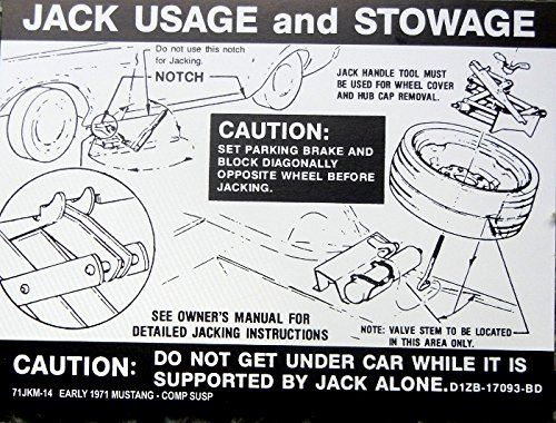 (1971 EARLY FORD MUSTANG With COMPETITION SUSPENSION JACKING And STOWAGE INSTRUCTIONS DECAL - STICKER)