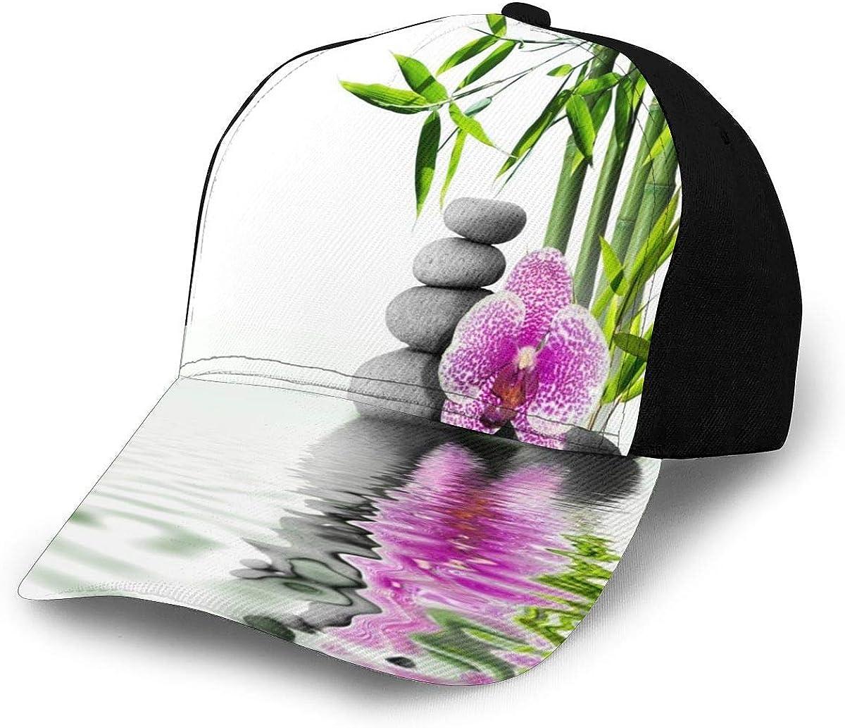 Zen Bamboo Plants with Grey Stones Pink Flower Lightweight Unisex Baseball Caps Adjustable Breathable Sun Hat for Sport Outdoor