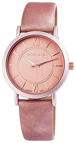 Reloj Mujer Color Rosa Plata analógico de Cuarzo Metal Piel Moderna Old Fashion Reloj de Pulsera: Amazon.es: Relojes