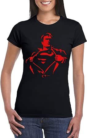 Black Female Gildan Short Sleeve T-Shirt - Superman ripping Shirt - Red design