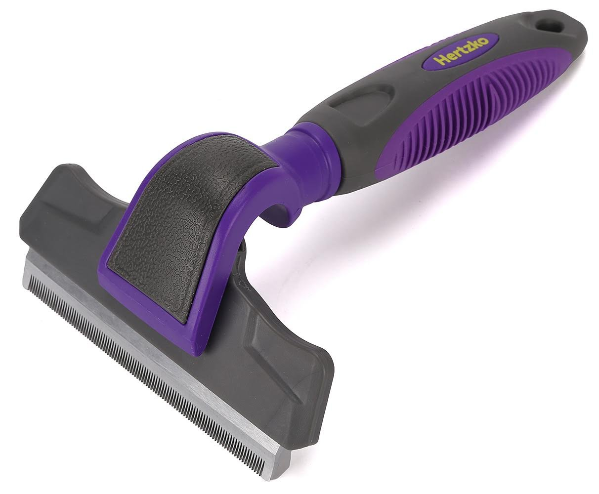 Hertzko Pet Deshedding Tool Gently Removes Shed Hair - for Small, Medium, Large, Dogs and Cats, with Short to Long Hair by Hertzko