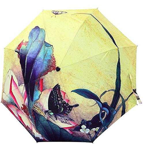 Butterfly Patio Umbrella - Katoot@ High quality Chinese ink painting Love of Butterfly sun/rain umbrella women, 3 fold manual vintage sombrillas chinas