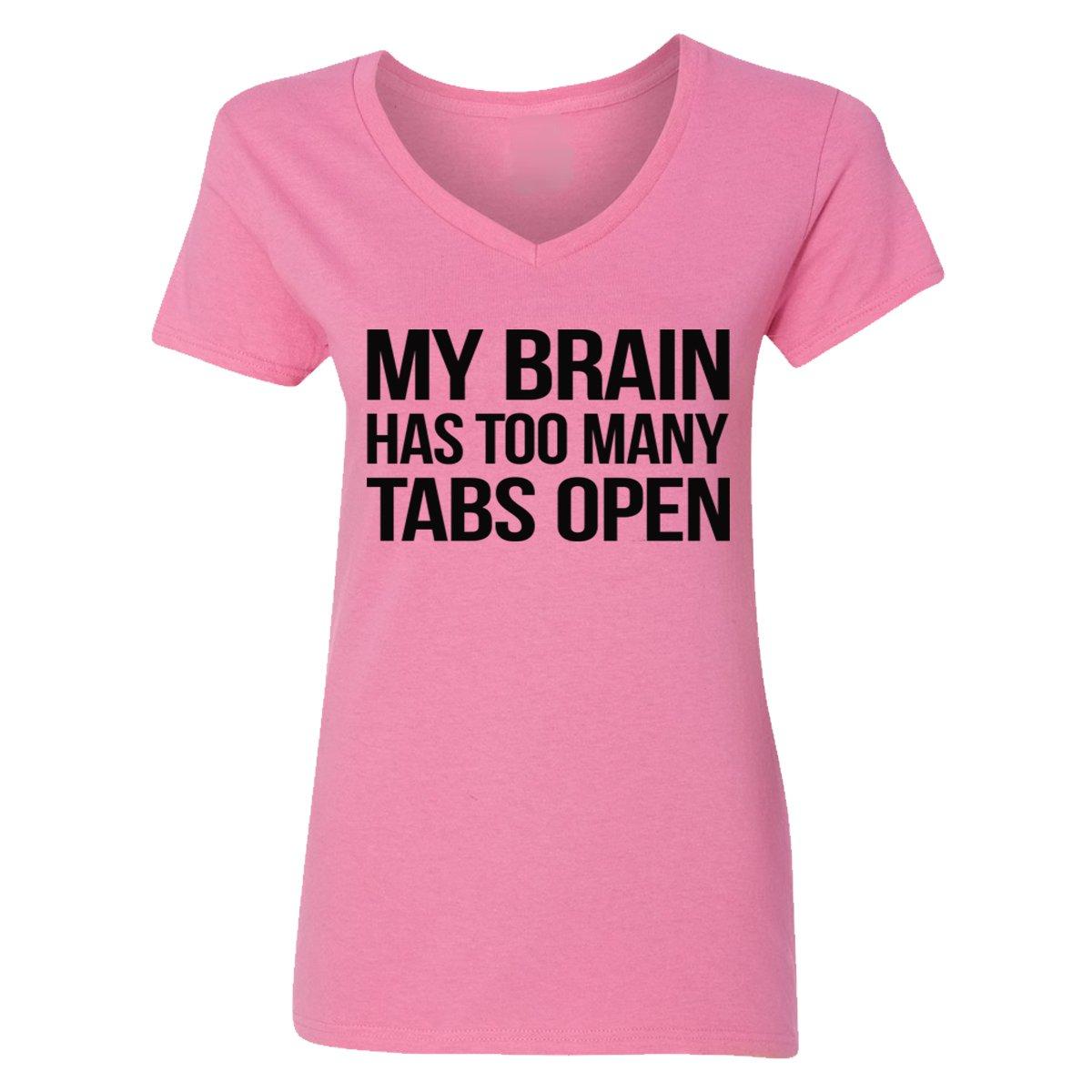 Camalen My Brain Has Too Many Tabs Open V-Neck T-Shirts for Women(Azalea,Medium) by Camalen (Image #1)