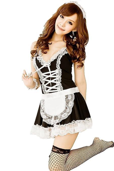 Foopp Sexy Lencería Delantal Maid Lolita Disfraz Uniforme (Negro y ...
