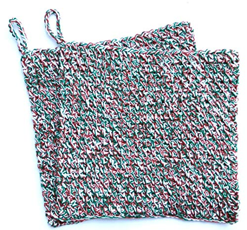 Christmas Holiday Themed Crochet Square Dishcloth Washcloth Set of 2 8x8 inches (Holiday Washcloth)