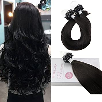 Moresoo 18zoll45cm Micro Ring Beads Remy Human Hair Extensions