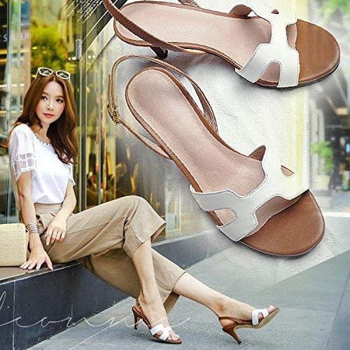 Jqdyl High Heels Leicht Heel Damenschuhe Frauen Peep-Toe Sandalen Stilettos Heels  36|White