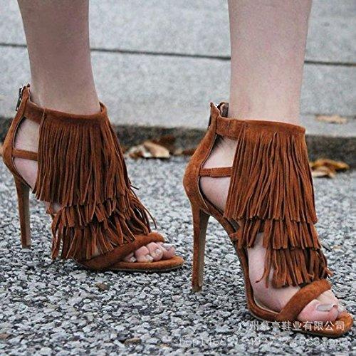 Estilo de Roma sandalias de tacón alto de las borlas de sandalias de tacón alto Zapatos de mujer Brown