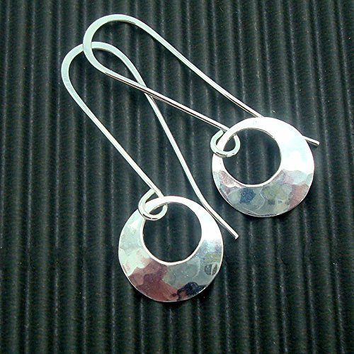 Silver Hammered Disc Earrings with Peephole