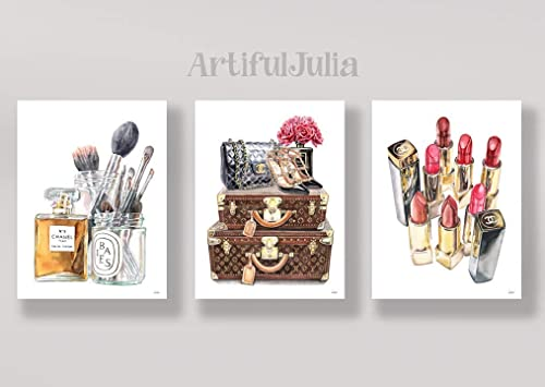 Designer Fashion Art watercolour designer bag lipstick office bedroom wall print