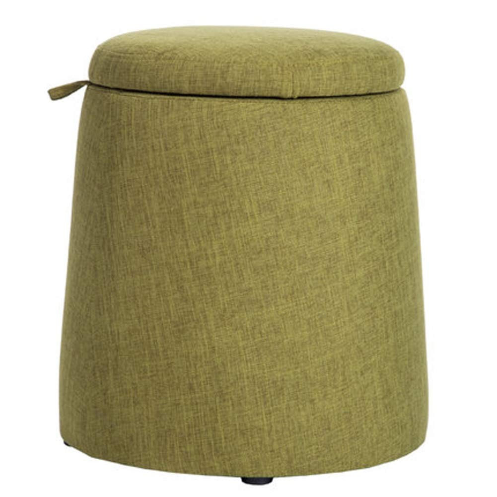 Green AINIYF Round Storage Stool with Removable Lid, Padded Footstool Non-Slip Entryway shoes Changing Stool(Round) (color   bluee)